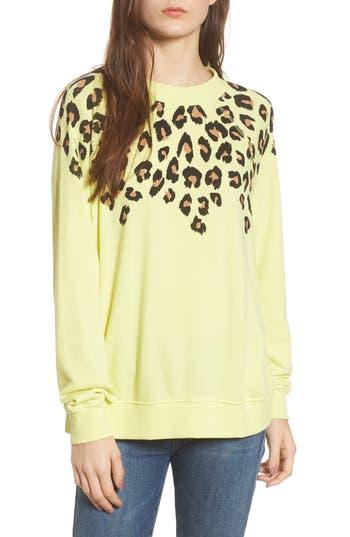 Women's Wildfox Animal Instinct - Sommers Sweatshirt, Size X-Small - Yellow