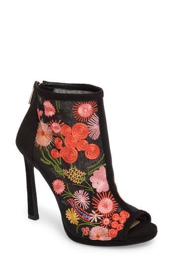 Jessica Simpson Pascall Embroidered Peep Toe Bootie, Black