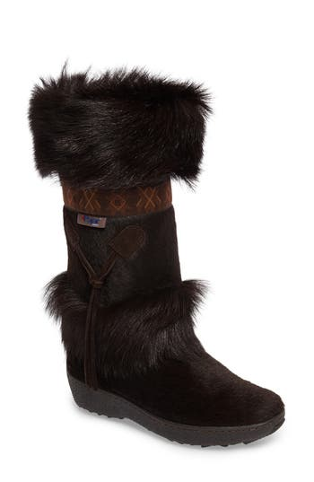 Pajar Laura Genuine Goat Fur Waterproof Boot, Brown