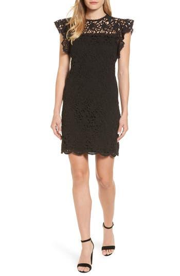 Velvet By Graham & Spencer Flutter Sleeve Lace Sheath Dress, Black