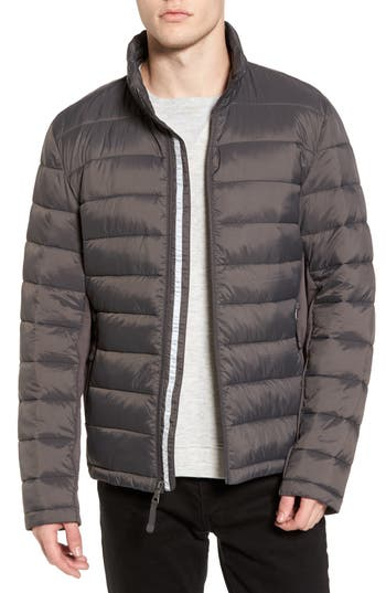 Black Rivet Water Resistant Packable Puffer Jacket, Grey