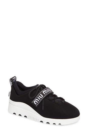 Miu Miu Logo Strap Platform Sneaker - Black