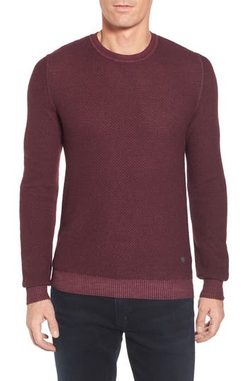 Stone Rose Honeycomb Merino Crewneck Sweater, (m) - Burgundy