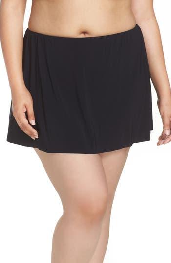 Plus Size Magicsuit Skirted Bikini Bottoms, Black