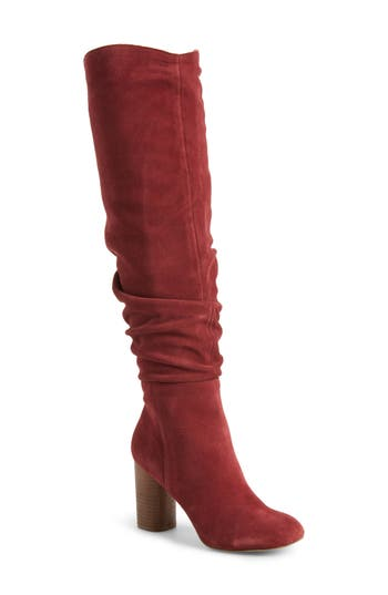 Sole Society Bali Slouchy Over The Knee Boot- Red