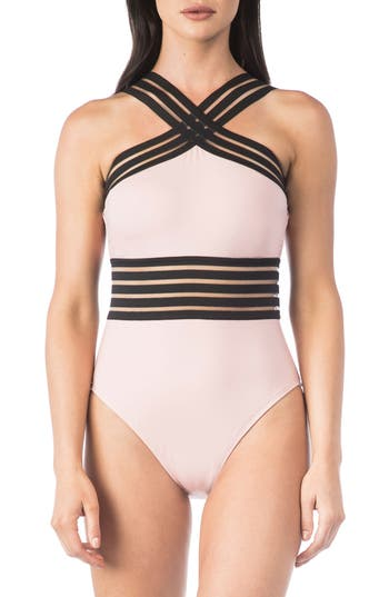 Kenneth Cole New York Stompin In My Stilettos High Neck One-Piece Swimsuit, Coral