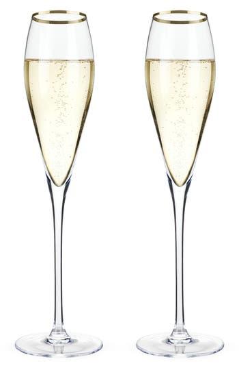 True Fabrications Viski Belmont Set Of 2 Gold Rim Champagne Flutes, Size One Size - White