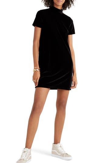 Madewell Velvet Mockneck Shift Dress, Black