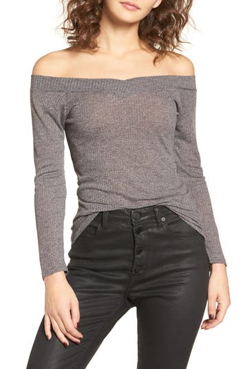 Obey Union Street Off The Shoulder Top, Grey
