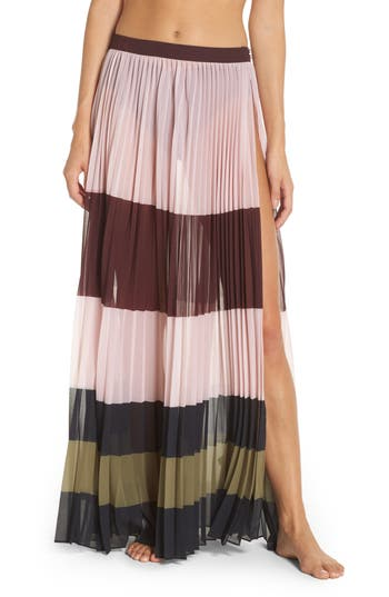 Ted Baker London Imperial Stripe Pleated Cover-Up Maxi Skirt, Pink