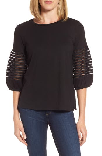 Women's Gibson Baby Ponte Bubble Sleeve Lace Shirt, Size X-Small - Black