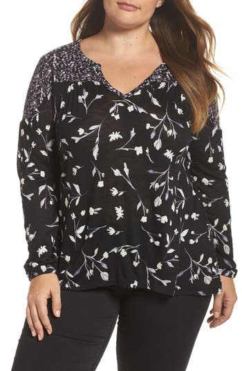 Plus Size Lucky Brand Bouquet Mixed Print Top, Black