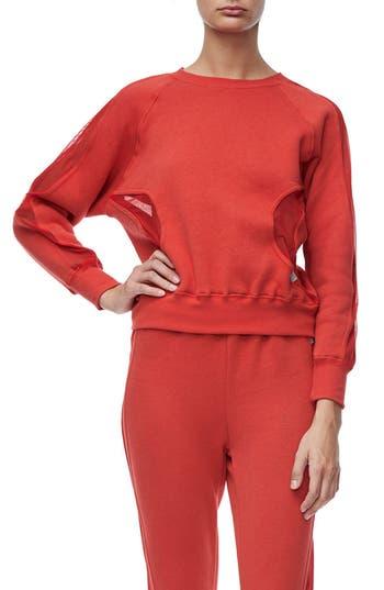 Good American Good Sweats Mesh Inset Sweatshirt, Red