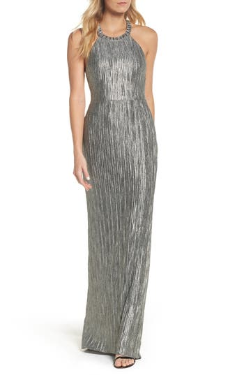 Adrianna Papell Embellished Crinkle Jersey Halter Gown, Metallic