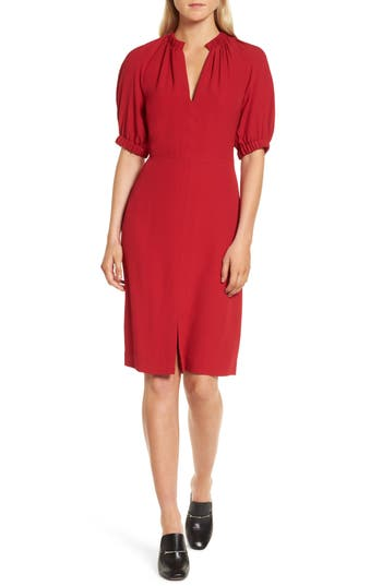 Women's Lewit Puff Sleeve A-Line Dress, Size 0 - Red