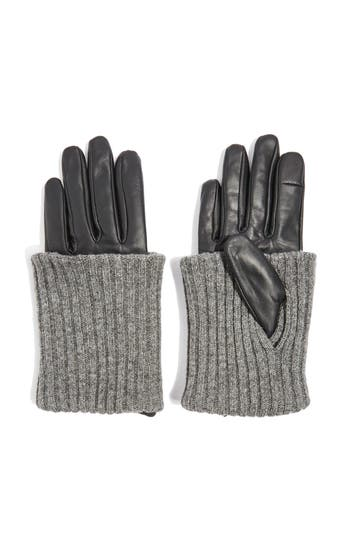 Topshop Wool-Blend Cuff Genuine Leather Gloves, Black