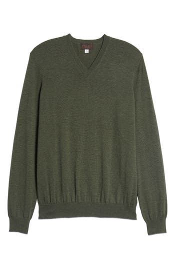 Thomas Dean Merino Wool Blend V-Neck Sweater, Green