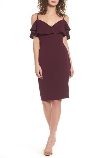 Love, Nickie Lew Ruffle Off The Shoulder Body-Con Dress, Purple