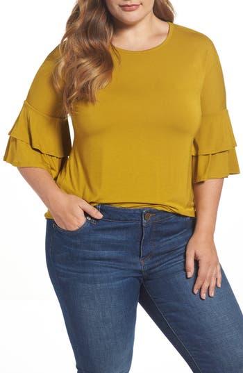 Plus Size Women's Bobeau Double Ruffle Sleeve Top, Size 1X - Green