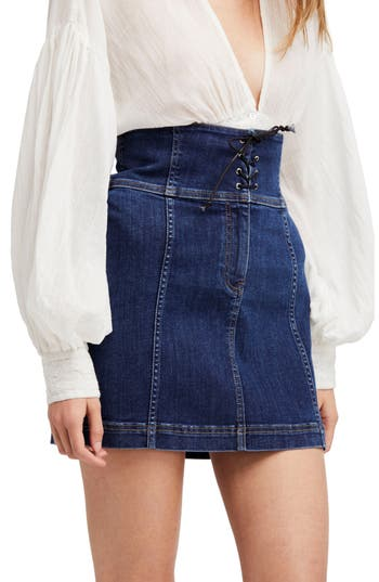 Free People Modern Femme Corset Skirt, Blue