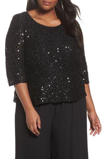Plus Size Women's Alex Evenings Sequin Top, Size 2X - Black