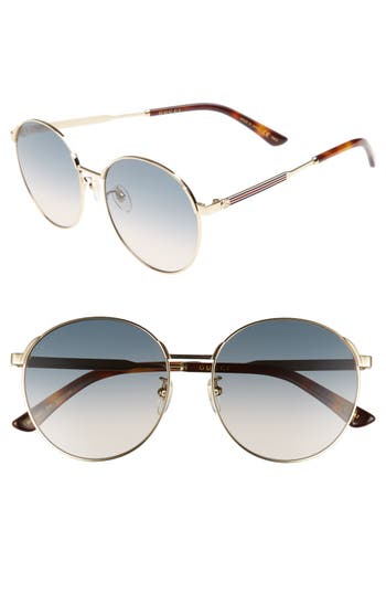 Gucci 5m Round Sunglasses - Gold/ Blue