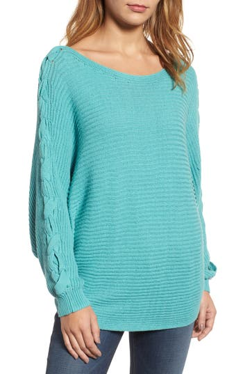 Women's Caslon Lace-Up Sleeve Sweater, Size X-Small - Green
