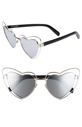 Women's Saint Laurent Sl197 Loulou 57Mm Heart Shaped Sunglasses - Silver