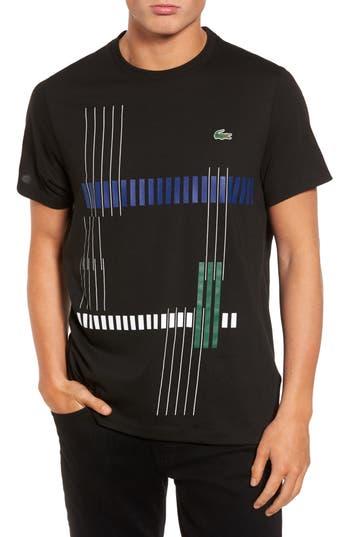 Lacoste Tech Vertical Stripe Graphic T-Shirt, Black