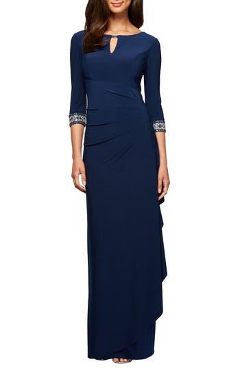Alex Evenings Jeweled Cuff Column Gown, Blue