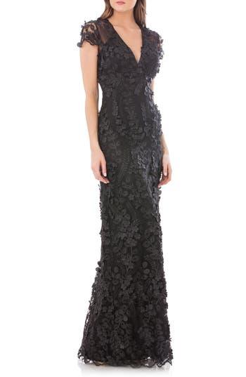 Carmen Marc Valvo Infusion Petals Embellished Gown, Black