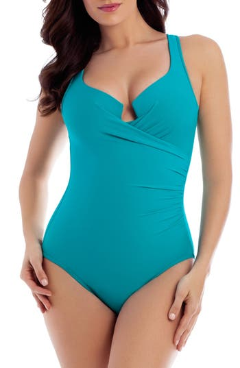 Miraclesuit Must Have Escape Underwire One-Piece Swimsuit, Blue/green