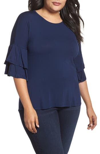 Plus Size Women's Bobeau Double Ruffle Sleeve Top, Size 1X - Blue
