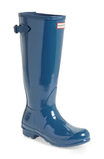 Hunter Adjustable Back Gloss Rain Boot, Blue