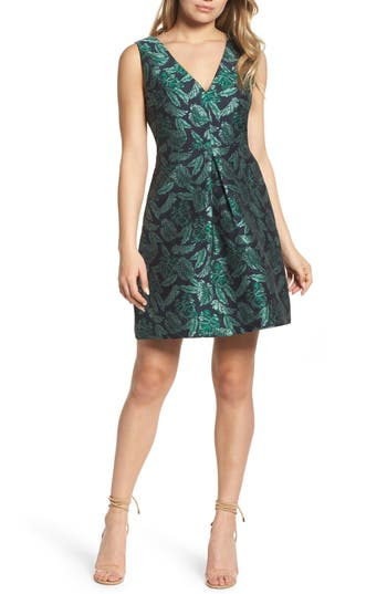 Sam Edelman Palm Jacquard A-Line Dress, Blue/green