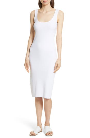 Vince Ribbed Tank Dress, White