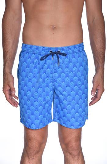 Mr. Swim Deco Print Swim Trunks, Blue