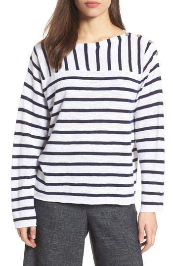 Women's Eileen Fisher Stripe Organic Linen & Cotton Sweater, Size XX-Small - White