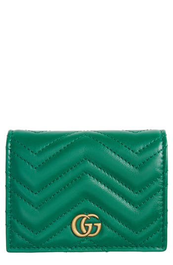 Women's Gucci Gg Marmont Matelasse Leather Card Case - Green