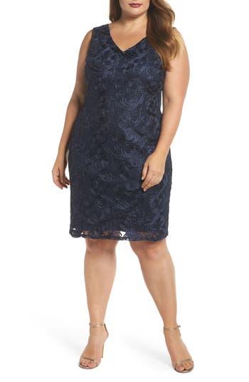 Plus Size Marina Soutache Sheath Dress, Blue