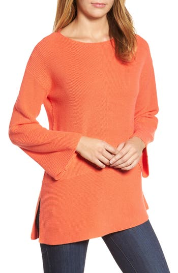 Women's Chaus Ribbed Asymmetrical Hem Sweater, Size Small - Coral