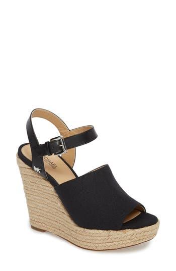 Michael Michael Kors Penelope Espadrille Wedge Sandal- Black