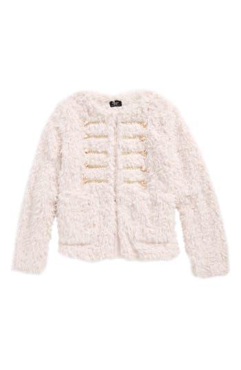 Girl's Bardot Junior Fluffy Military Coat, Size 7-8 US / 8 AUS - Pink