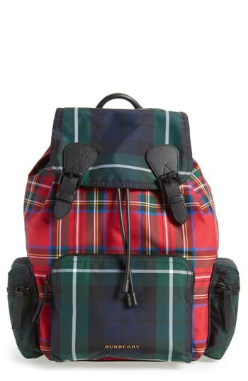 Burberry Tartan Patchwork Backpack - Red