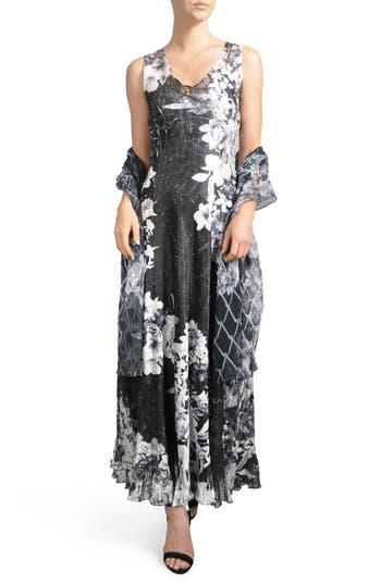 Komarov Lace-Up Back Dress With Wrap, Blue