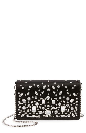 Miu Miu Swarovski Crystal Embellished Shoulder Bag - Black at NORDSTROM.com