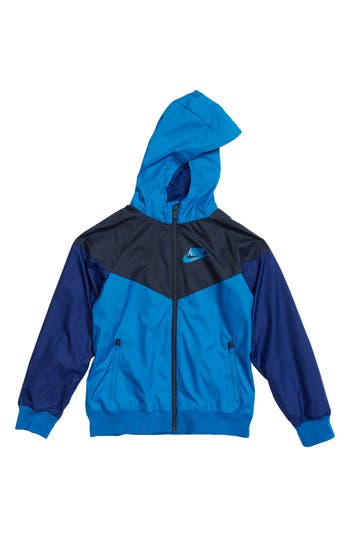 Boys Nike Windrunner Water Resistant Hooded Jacket Size S  8  Blue