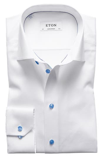 Eton Contemporary Fit Twill Dress Shirt