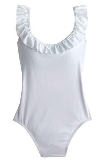J.crew Ruffle Scoop Back One-Piece Swimsuit, White