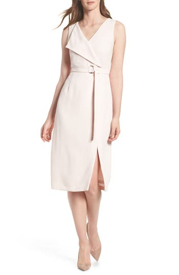 Adrianna Papell Cam Belted Midi Dress, Pink